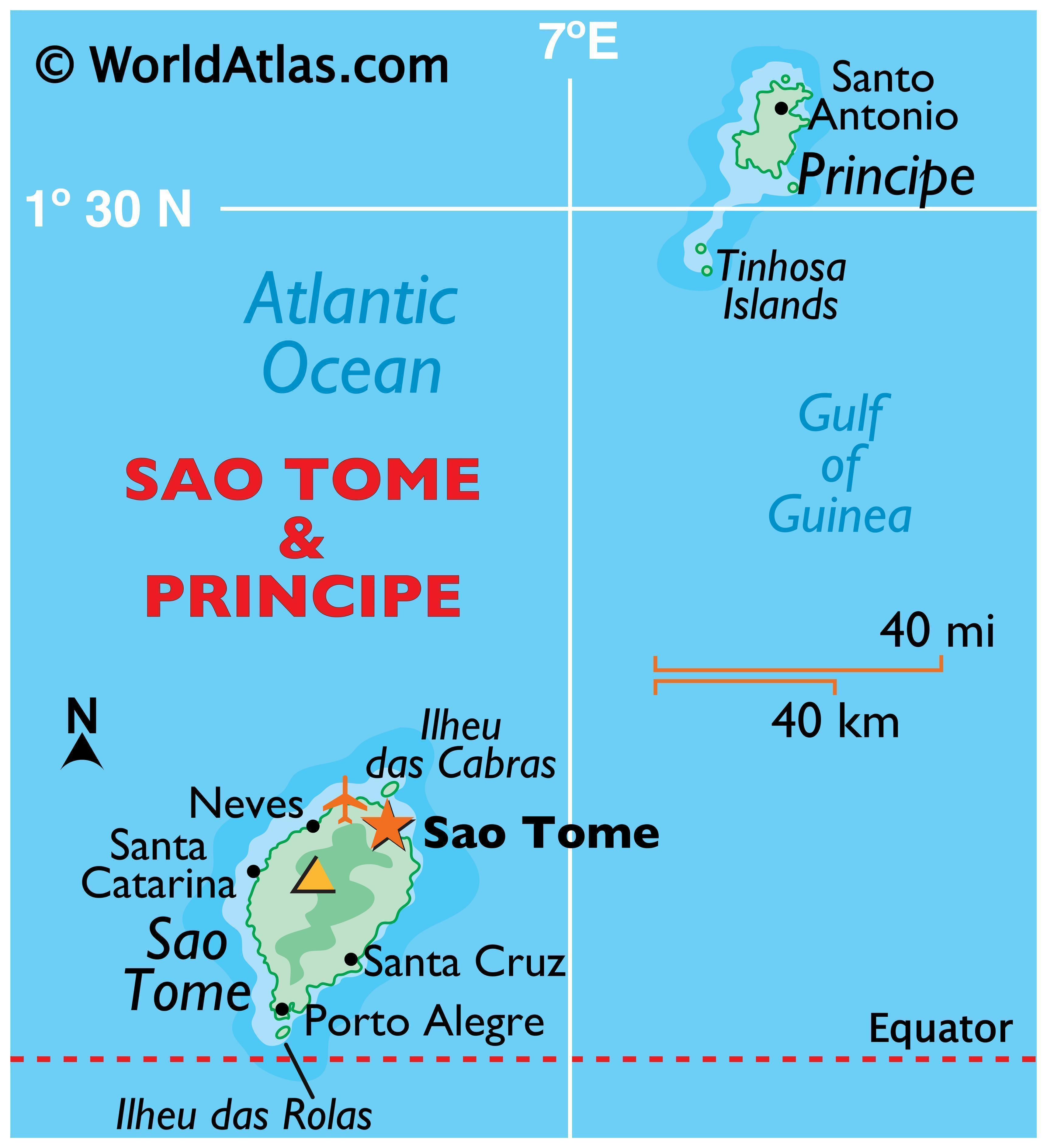 Physical map of Sao Tome and Principe showing its major islands, surrounding water bodies, relief, and relative location of major cities.