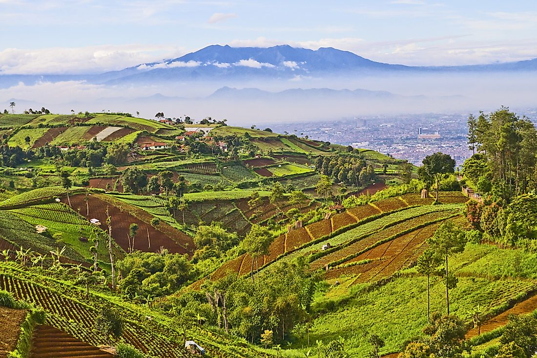 View of Bandung, Indonesia on the island of Java.
