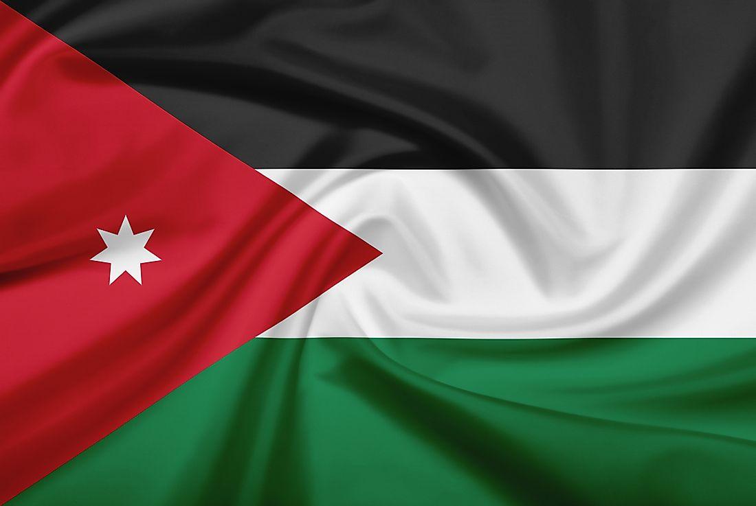 The official flag of the Kingdom of Jordan.