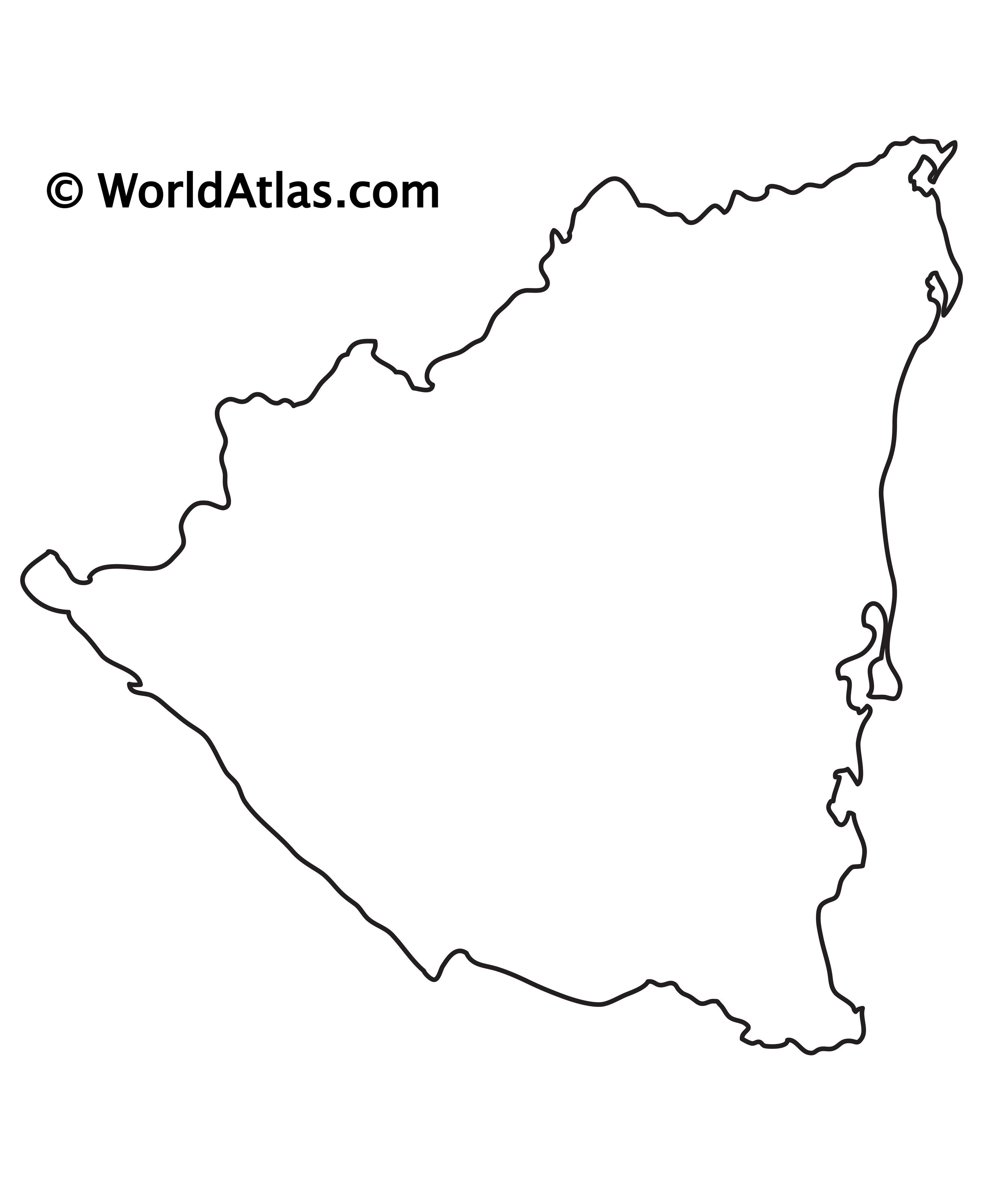 Blank Outline Map of Nicaragua