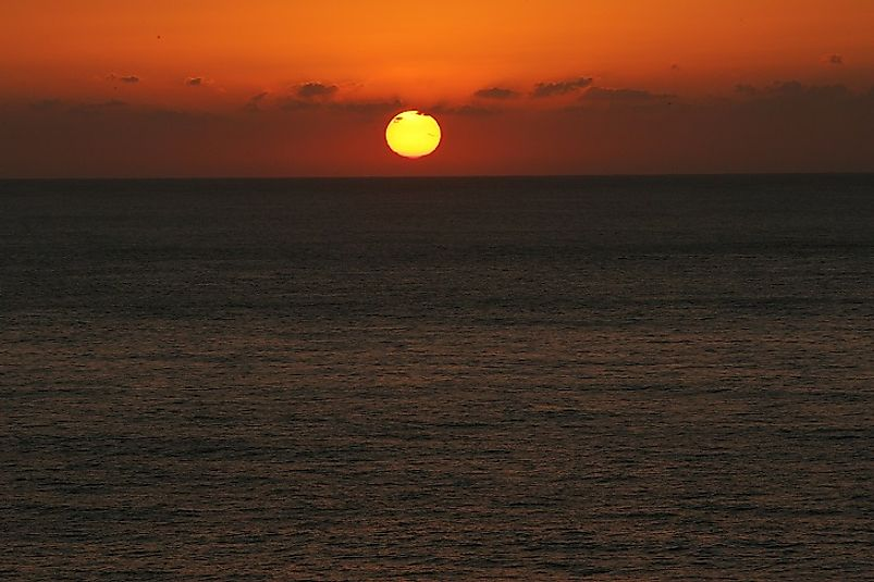 The sun sets over the Pacific, as seen from the Japanese Island of Yakushima.