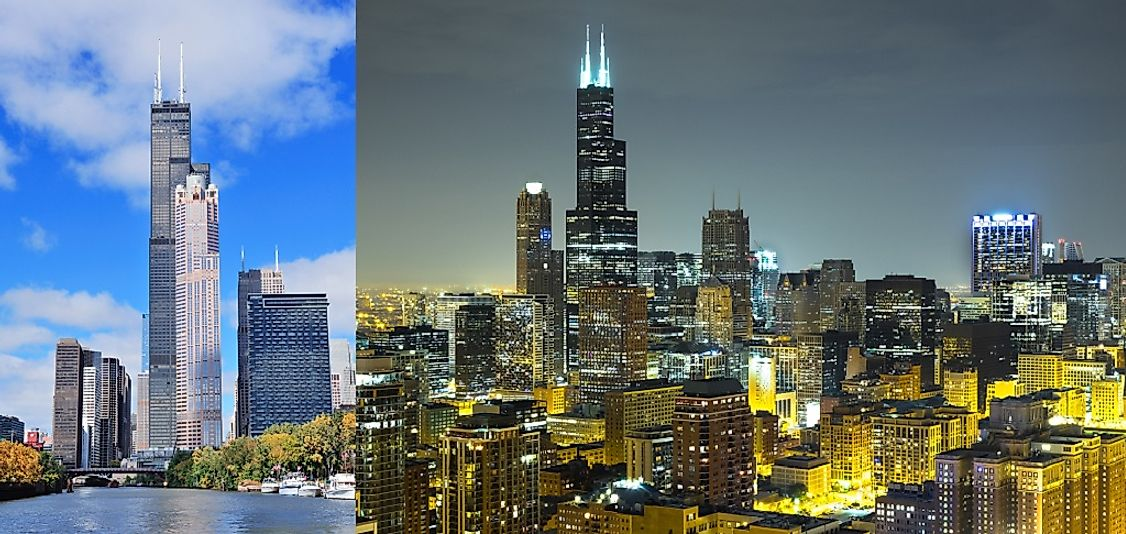 Willis Tower (formerly Sears Tower) seen from Lake Michigan by day (left) and from downtown Chicago by night (right).