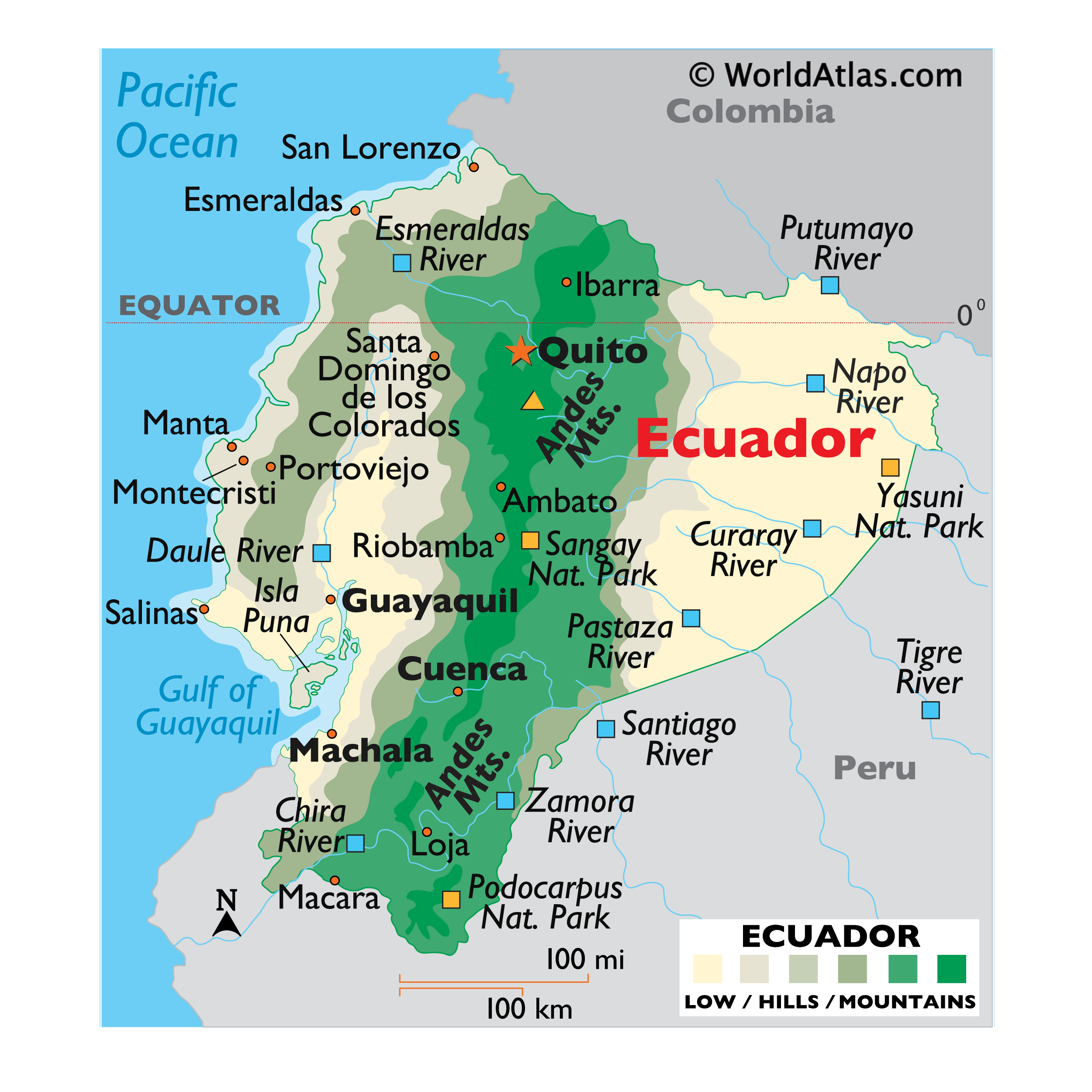 Physical Map of Ecuador showing relief, rivers, mountains ranges, important cities, bordering countries, and more.