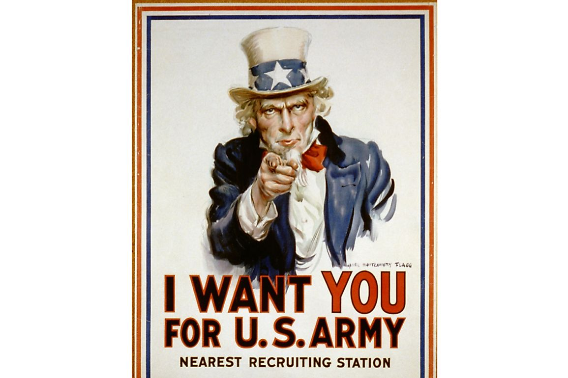An old US Navy recruiting poster featuring Uncle Sam.
