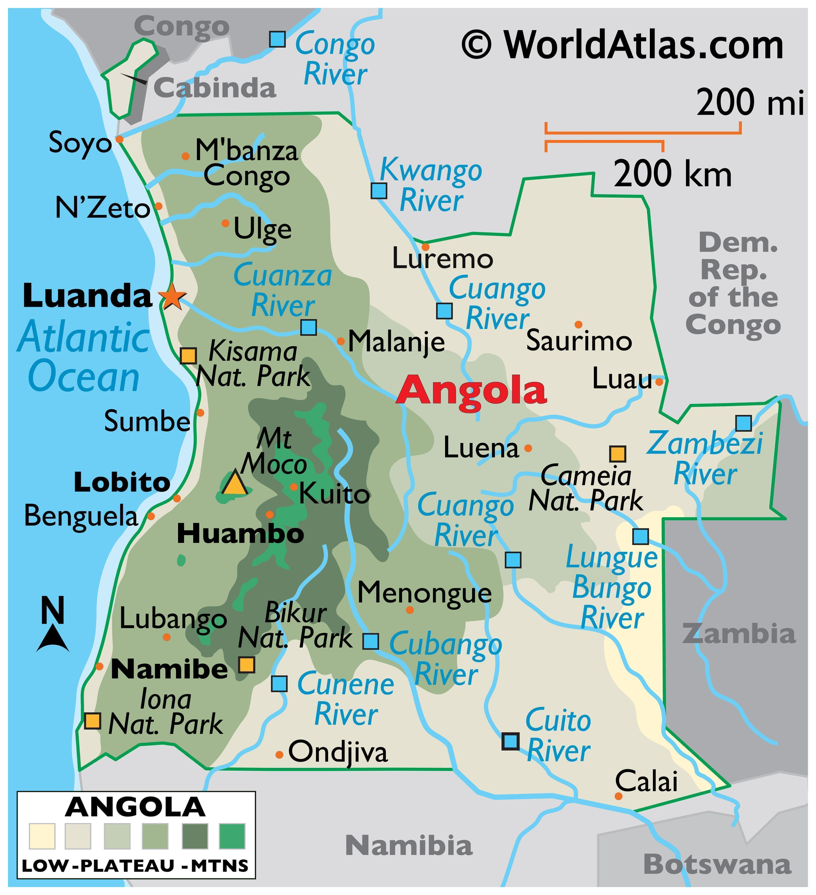 Physical map of Angola showing its major national parks, cities, and rivers. Displayed on the map is the highest point Mount Moco as well as its capital city of Lunda. Also featured are Angola's international boundaries.