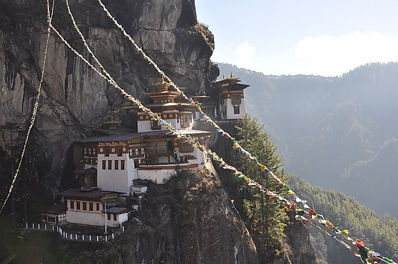 The Taktsang Palphug Monastery (a.k.a. the Tiger's Nest) is a Buddhist monastery in the Bhutanese Himalayas.