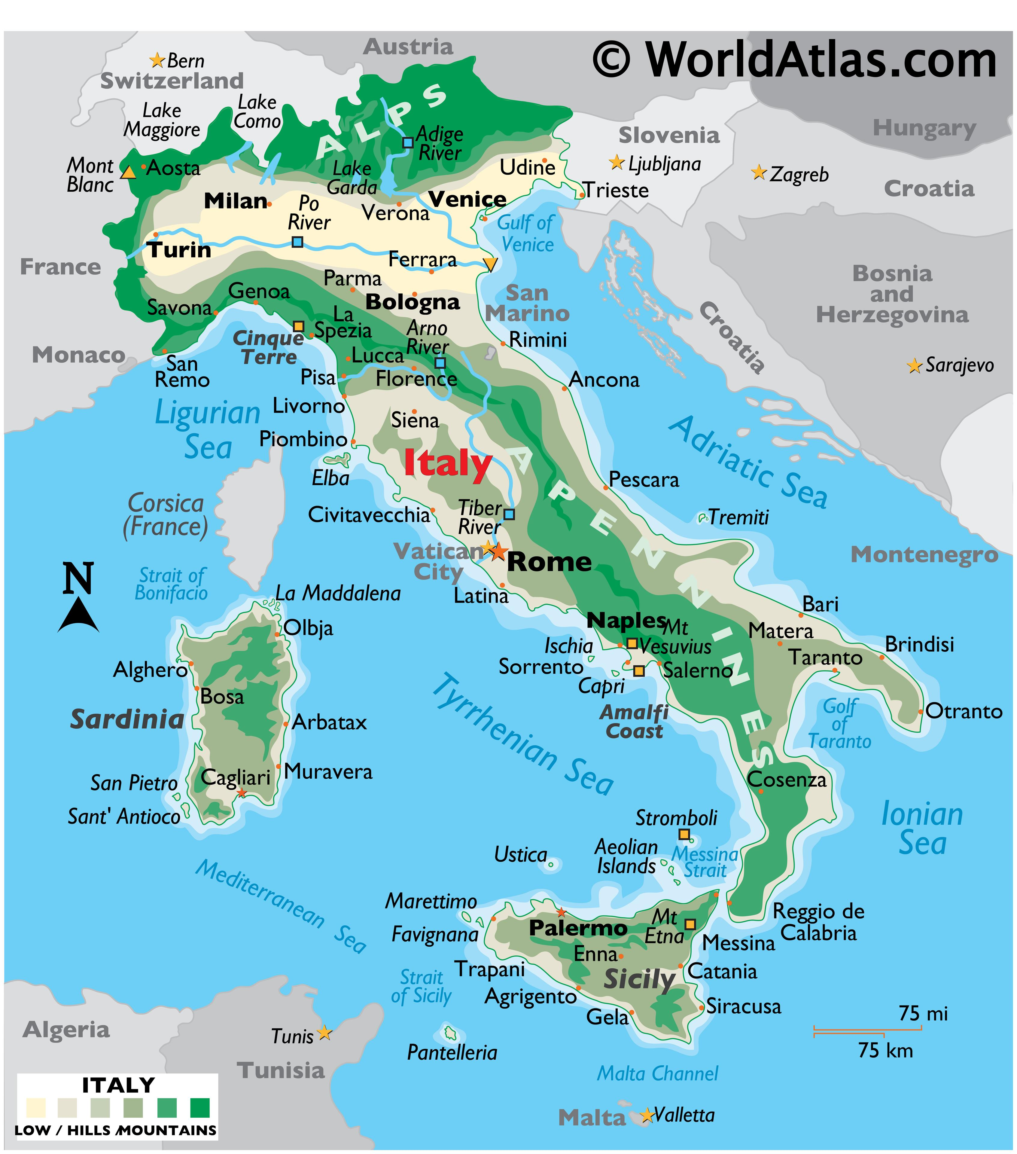 Physical Map of Italy showing terrain, mountains, extreme points, islands, rivers, major cities, international boundaries, etc.
