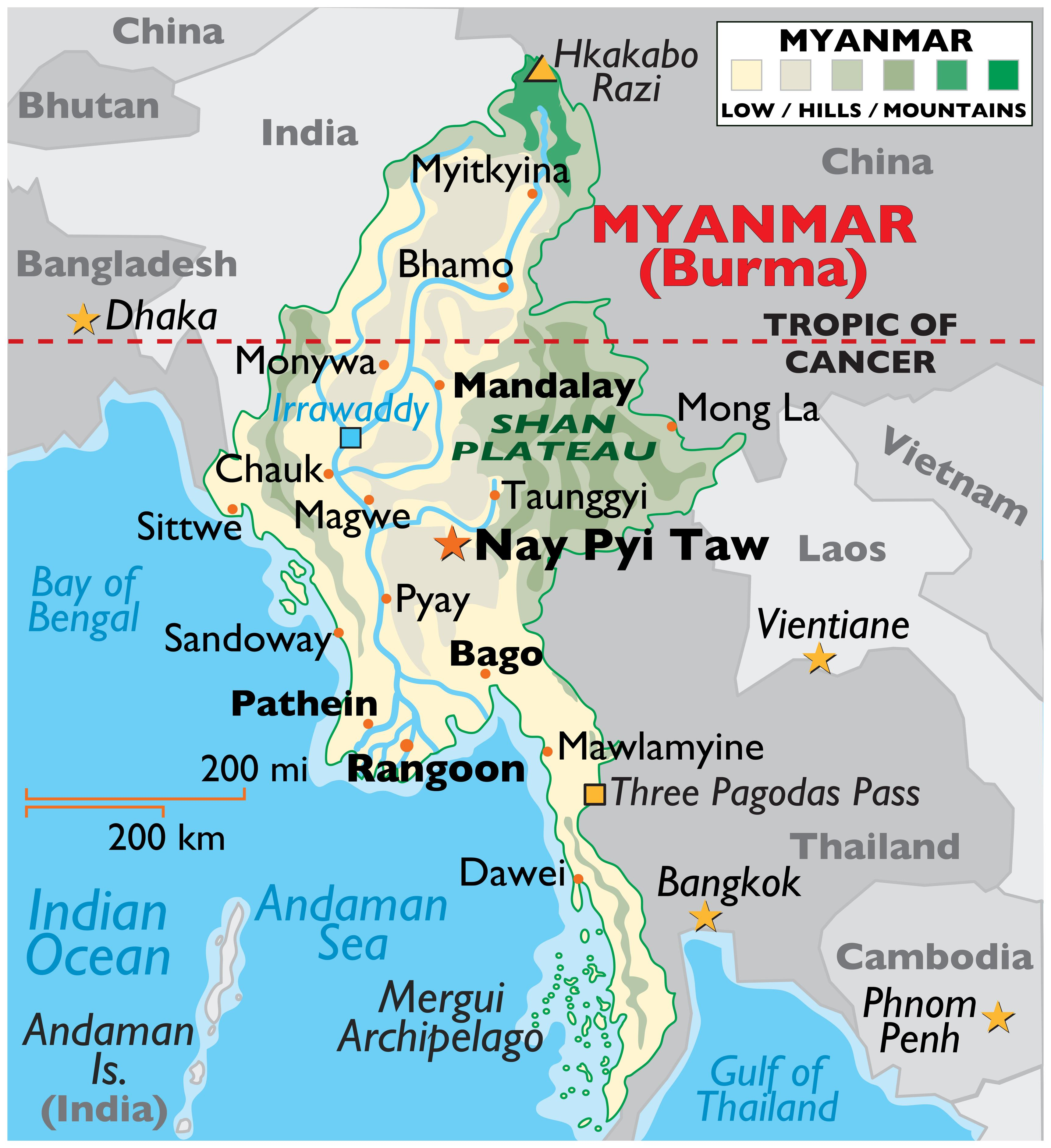 Physical Map of Myanmar showing state boundaries, relief, major rivers, highest point, important cities, Shan Plateau, and more