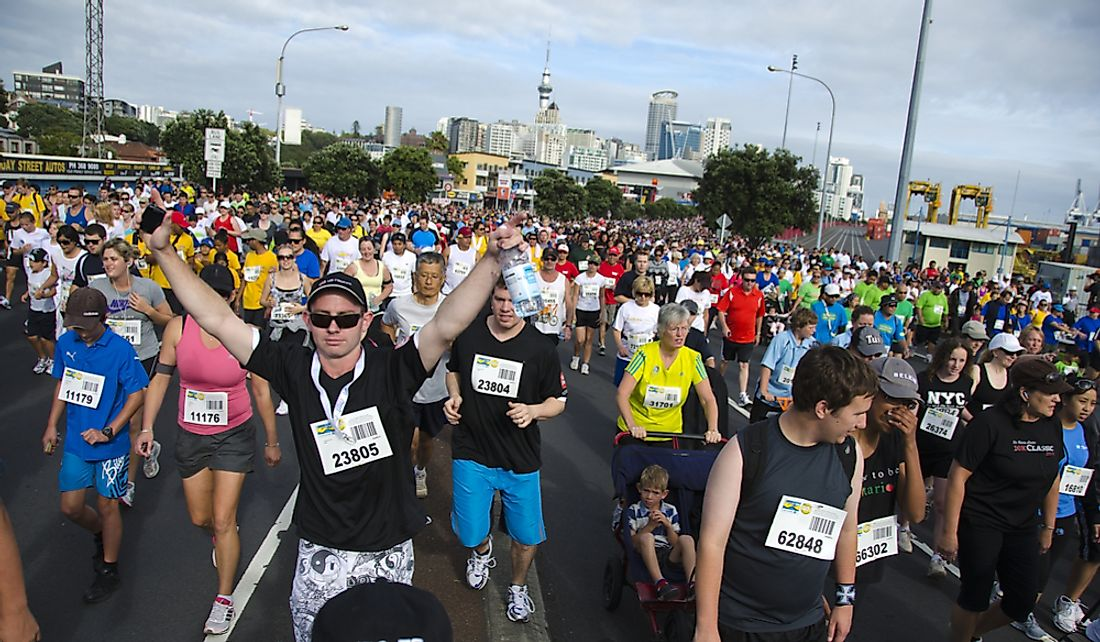 Participants in Auckland 2012 Round the Bays race.   Editorial credit: GlobalTravelPro / Shutterstock.com