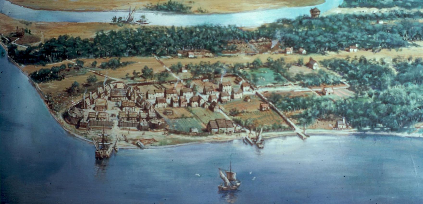 Artist's conception of aerial view of Jamestown, one of the earliest English colonies in the Americans, in 1614. Image credit: Sidney King/Public domain