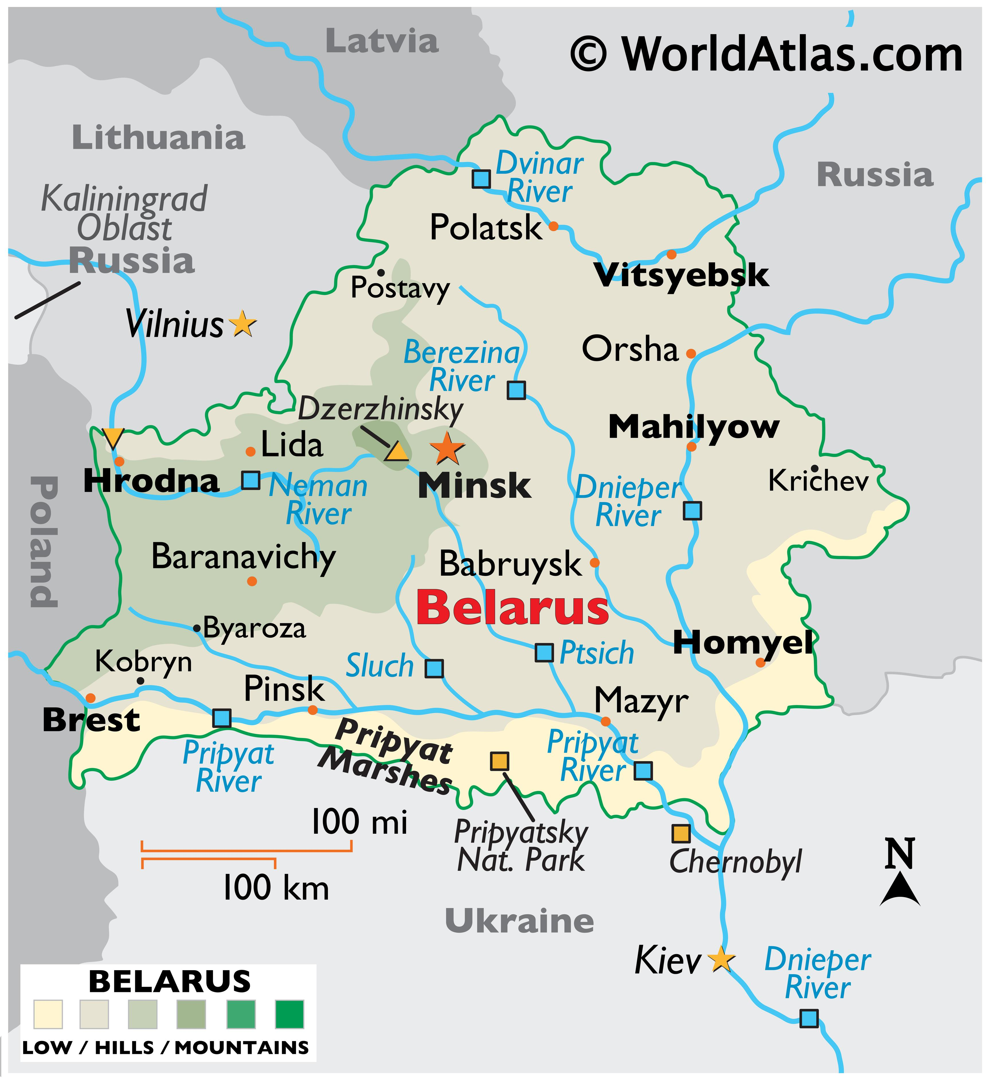 Physical Map of Belarus showing terrain, major rivers, extreme points, important cities, international boundaries, etc.