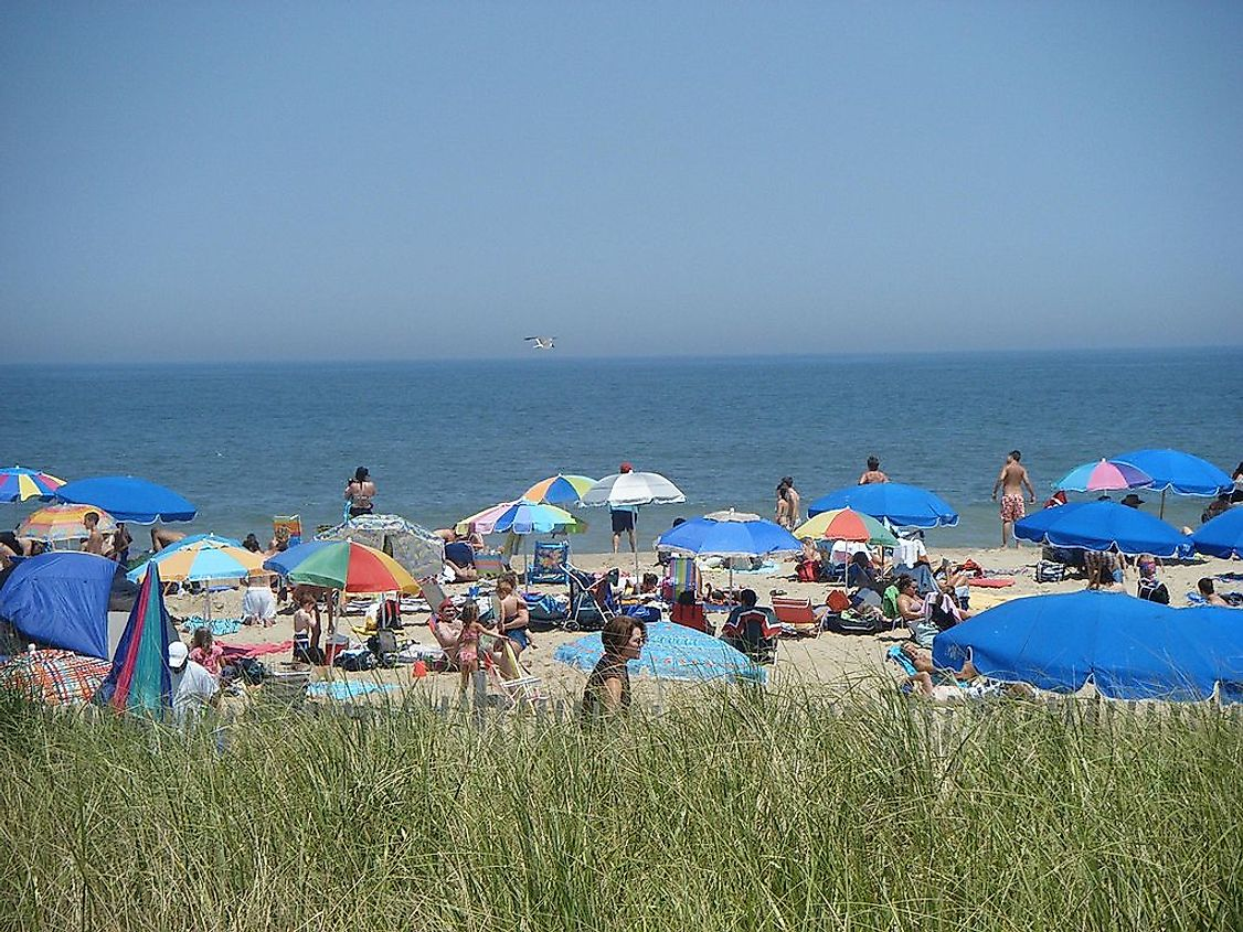 A view of the beach in Rehoboth Beach, Delaware, one of the lowest points in the state.