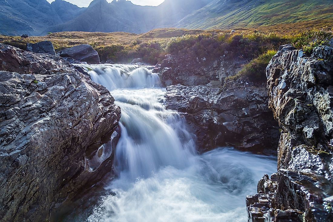 The Fairy Pools, with the mountains of Gen Brittle in the background, on the Scottish Isle of Skye.