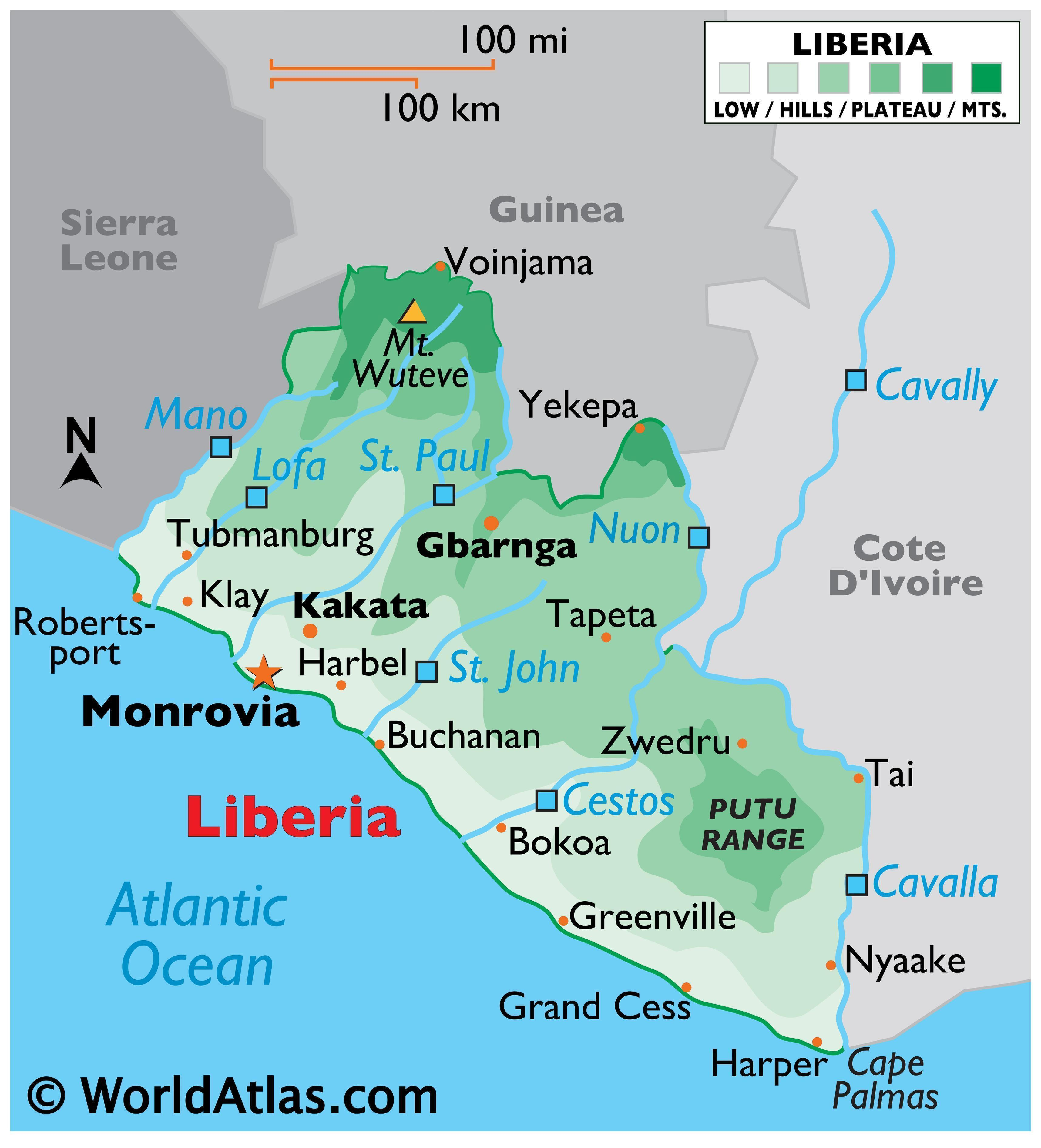 Physical Map of Liberia displaying state boundaries, relief, major rivers, Mount Witeve, and major cities.
