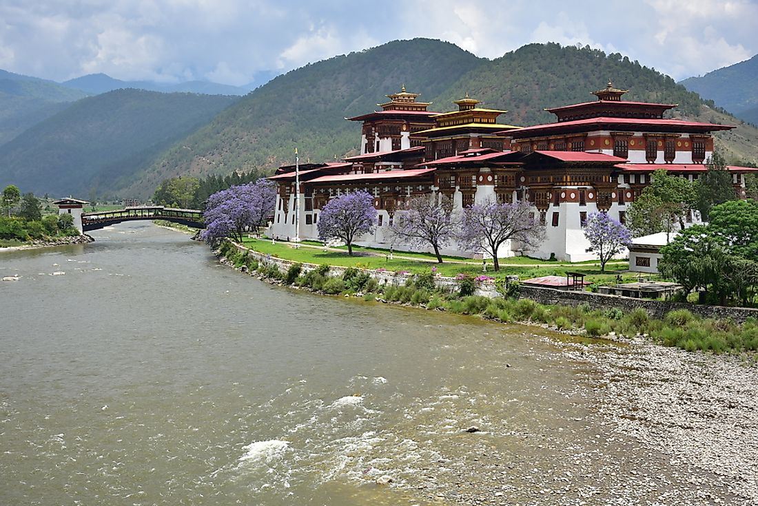 The Punakha Dzong Monastery in Bhutan.