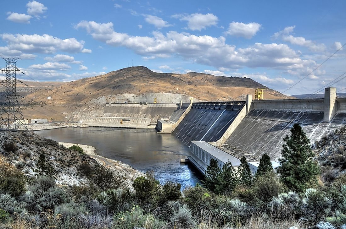 The Grand Coulee Dam on the Columbia River in Washington.