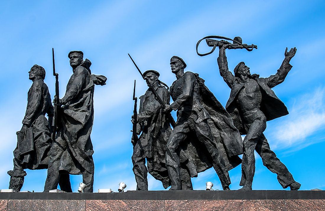 Part of the Monument to the Heroic Defenders of Leningrad in Saint Petersburg, Russia. Editorial credit: akedesign / Shutterstock.com