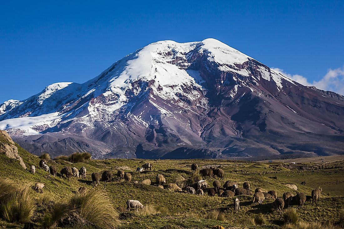 Chimborazo Mountain, an inactive volcano in the Andes mountain range, is the highest mountain in Ecuador.
