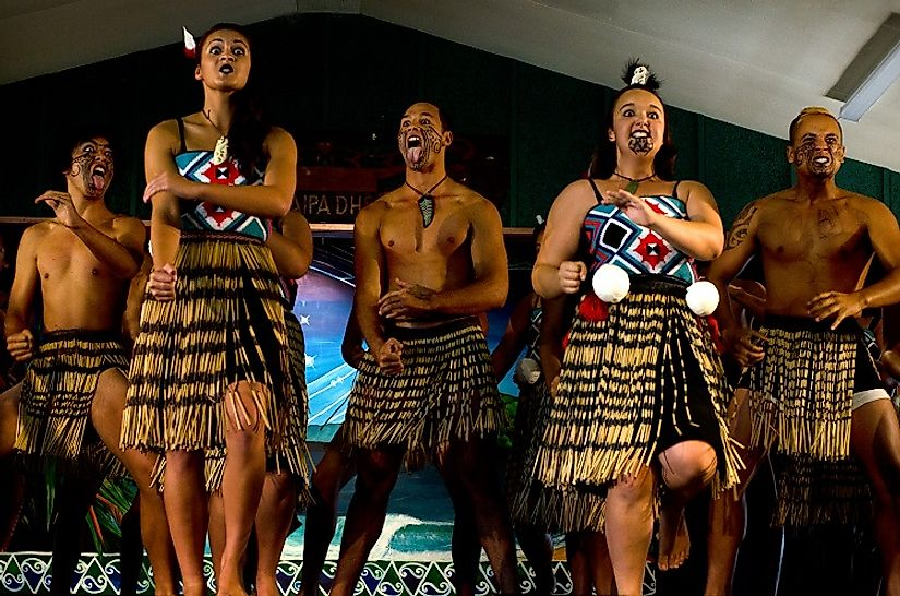 Traditional Maori dancers. Native to New Zealand, today there is also a sizable Maori population across the Tasman Sea in Australia as well. Editorial credit: ChameleonsEye / Shutterstock.com.