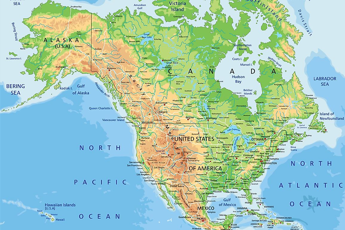 The United States is bordered by Canada in the north, and Mexico in the south.