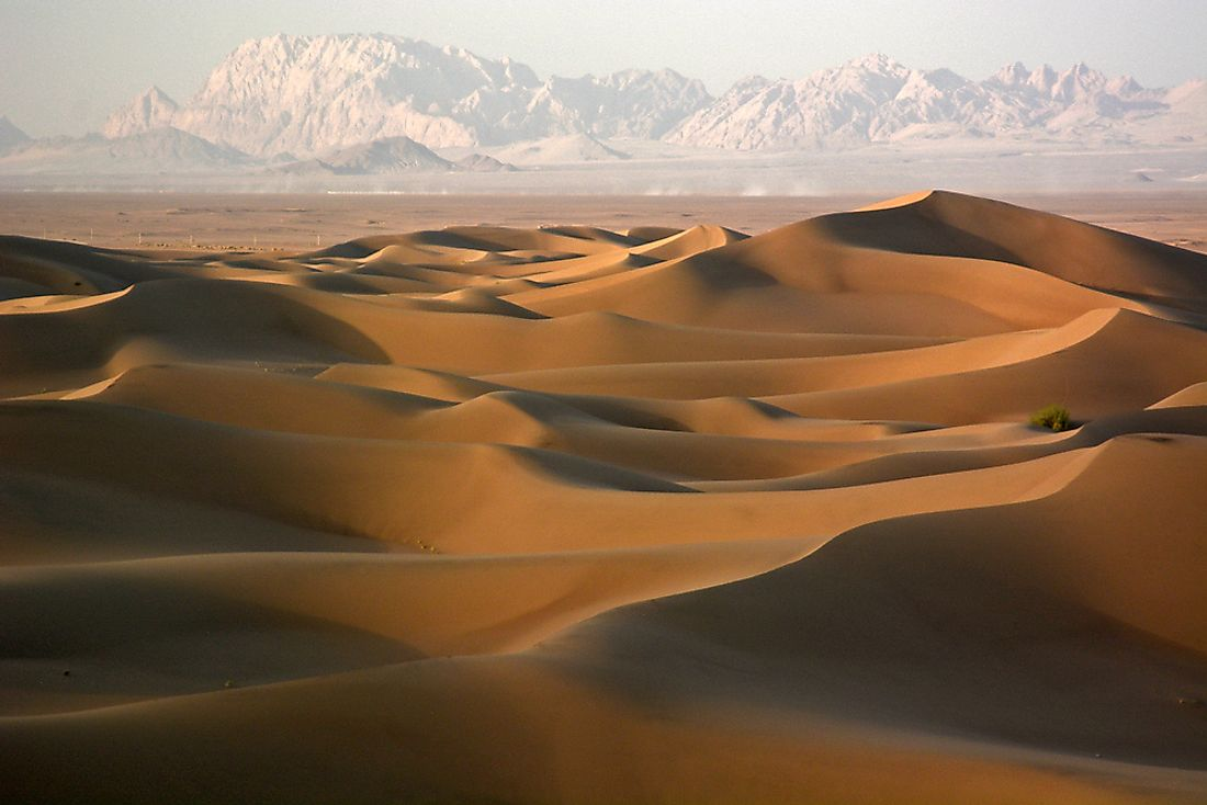Sand dunes in Iran. In some parts of Iran, the climate is quite arid.