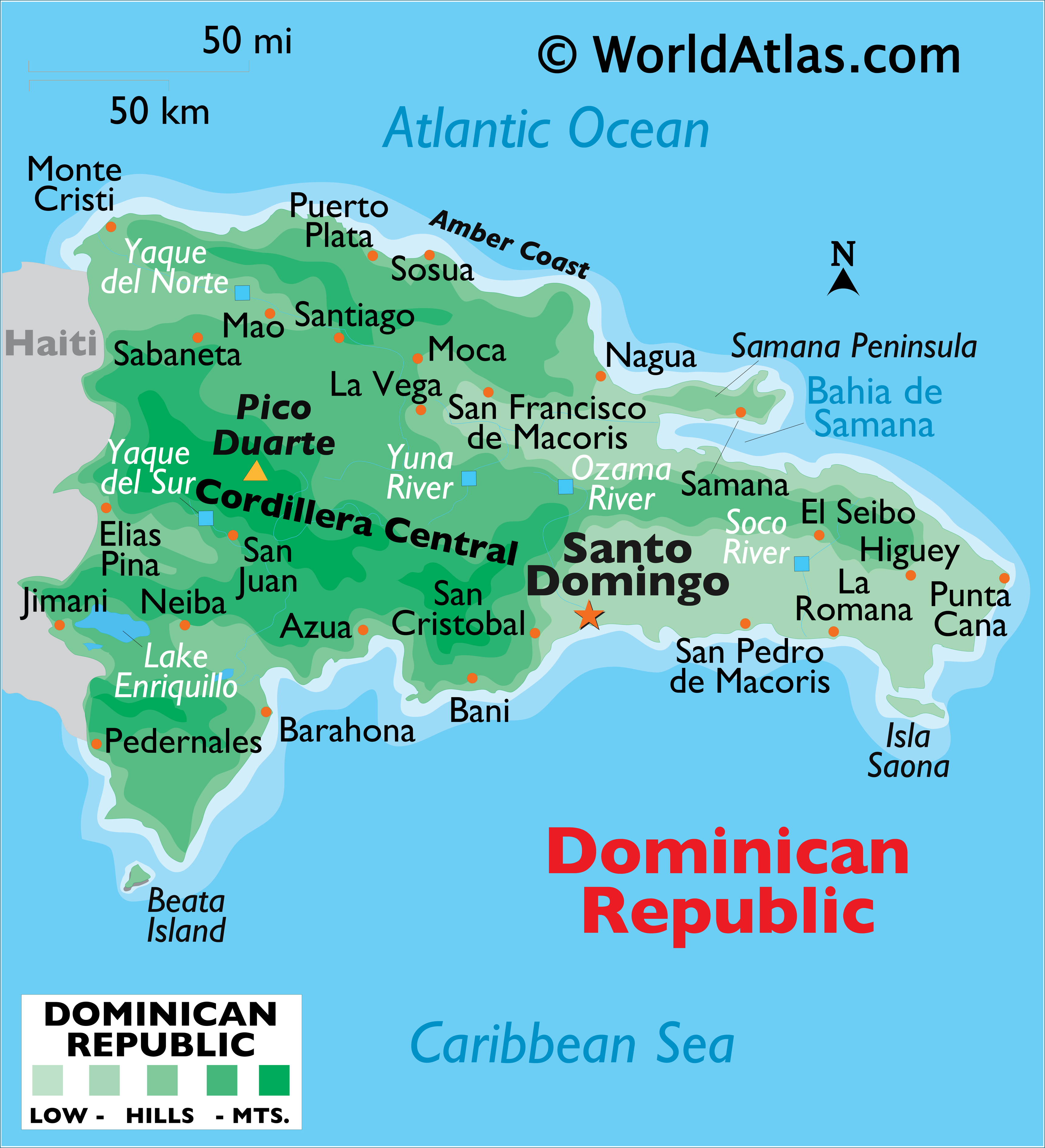 Physical Map of the Dominican Republic showing relief, islands, rivers, mountains, lakes, important cities, and more.