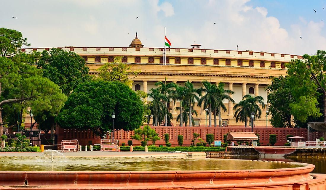 The Sansad Bhawan or Parliament Building in New Delhi, India.