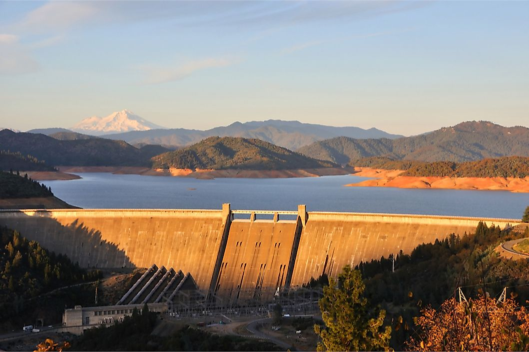 The Shasta Dam is responsible for creating Shasta Lake, California's largest reservoir.