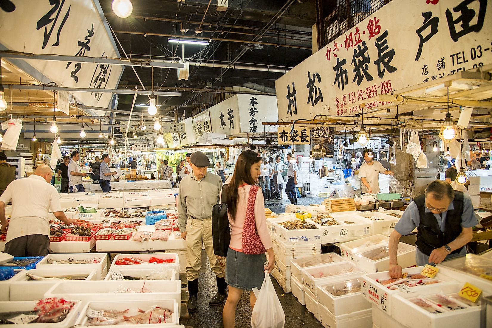 Merchants sell seafood in Tsukiji fish market in Tsukiji, Japan. Tsukiji fish market is one of biggest wet markets in the world. Image credit: Gjee/Shutterstock.com
