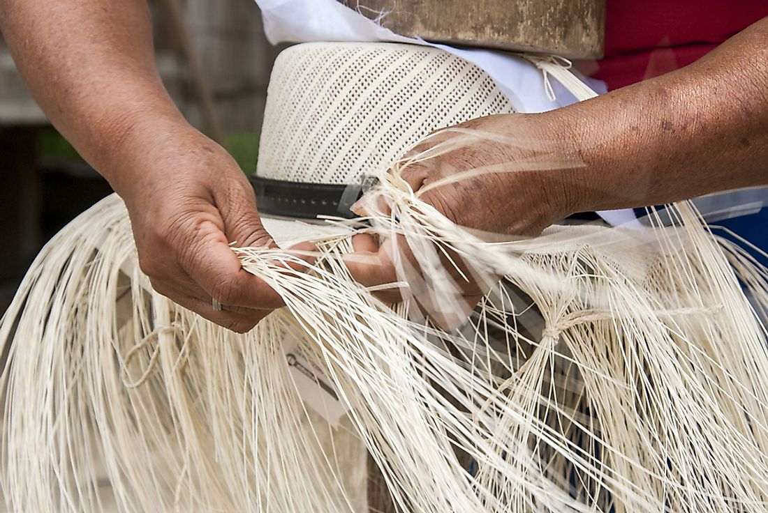 Traditional weaving of Ecuadorian toquilla straw hats, a UNESCO Intangible Cultural Heritage of Ecuador.