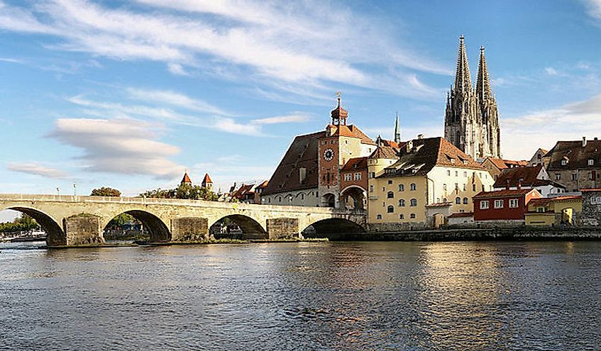 The Danube in Regensburg, Germany.