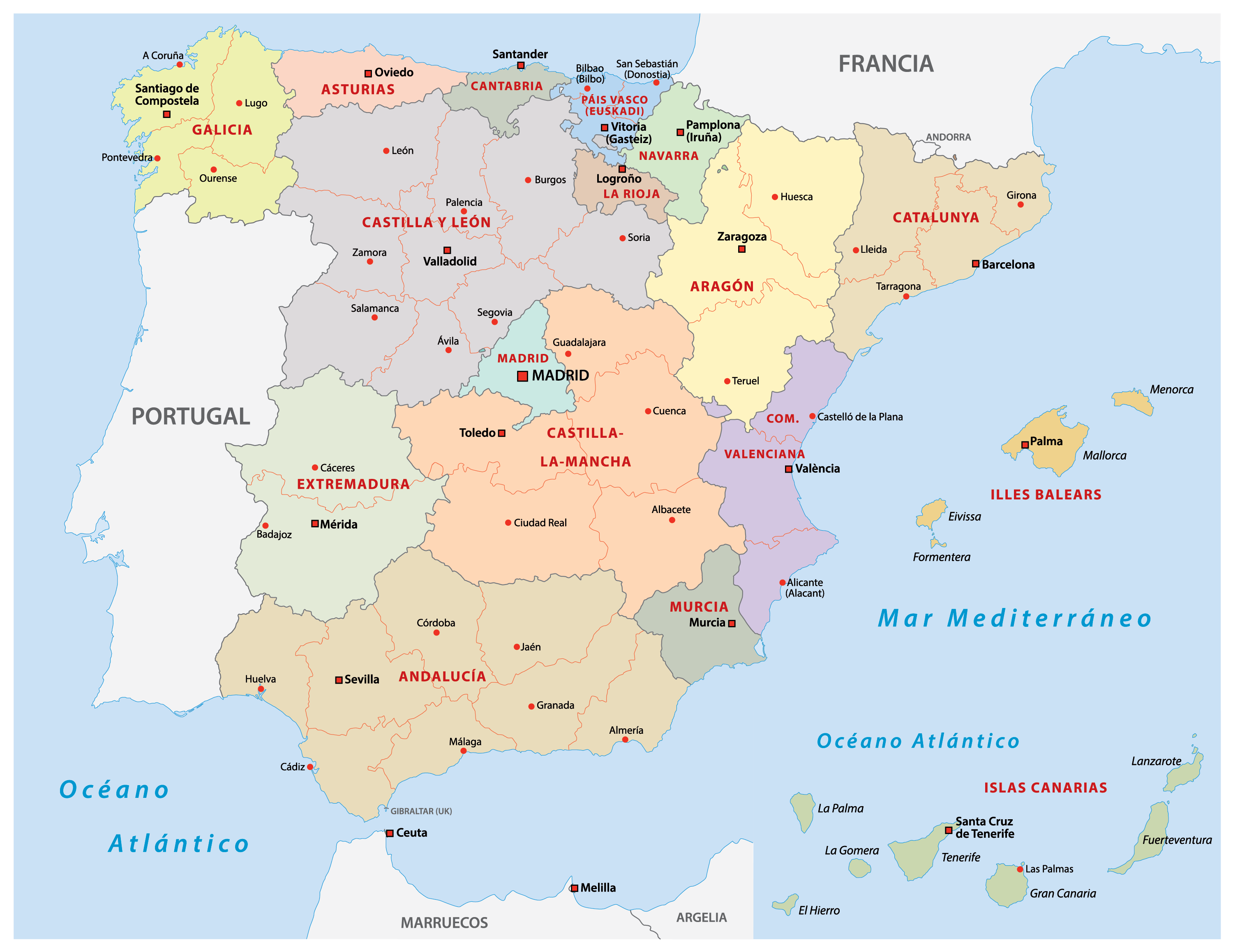Political Map of Spain showing 17 autonomous communities and the capital city of Madrid.