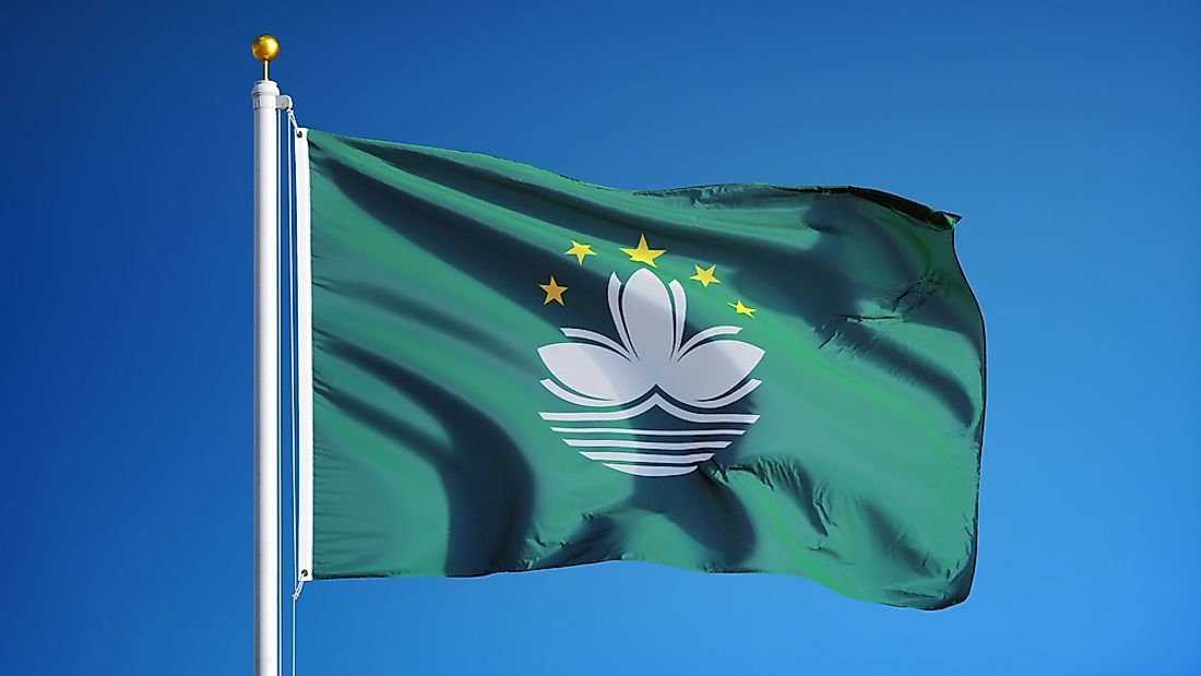 The flag of Macau features a white lotus flower.
