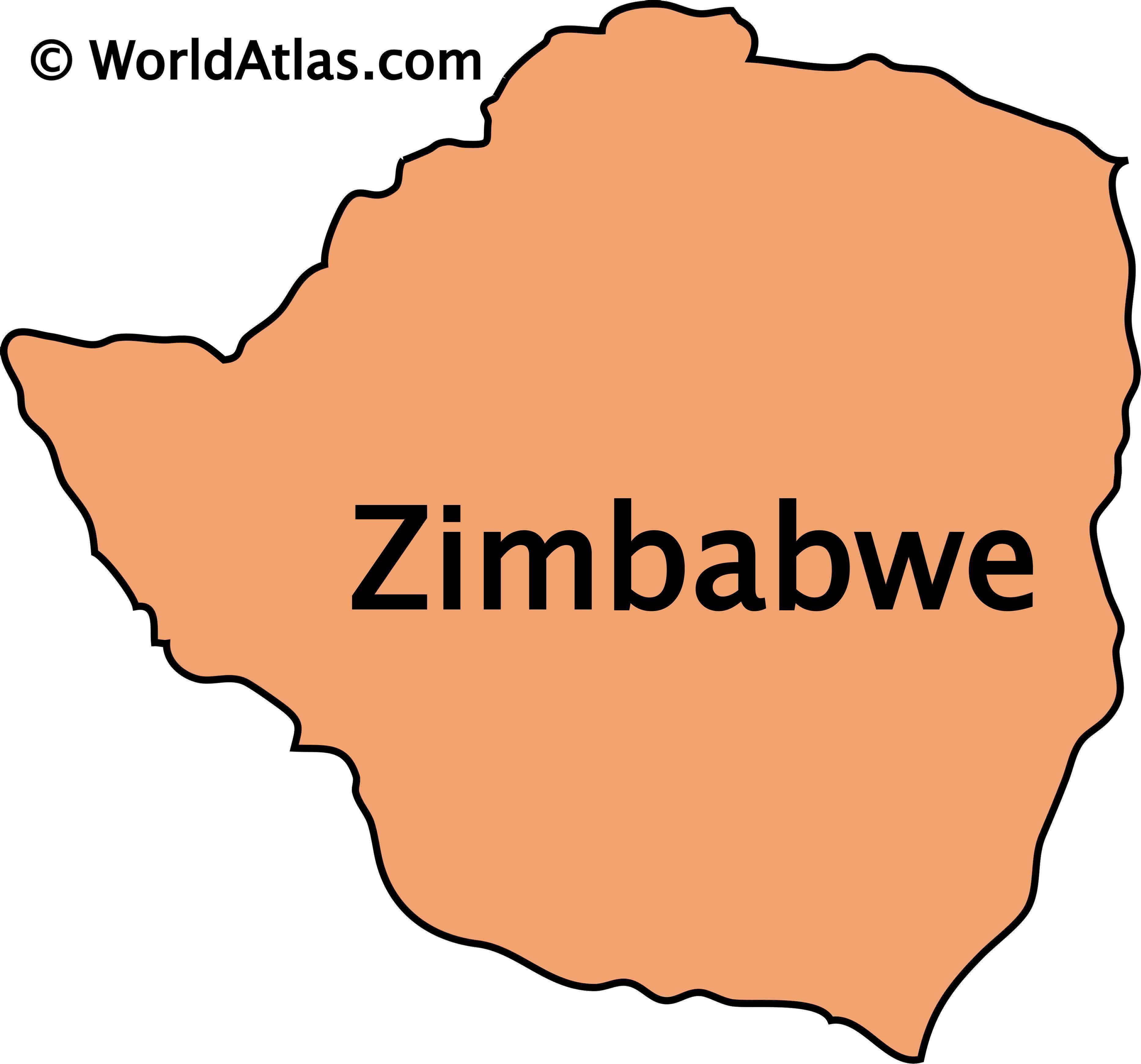 Outline map of Zimbabwe