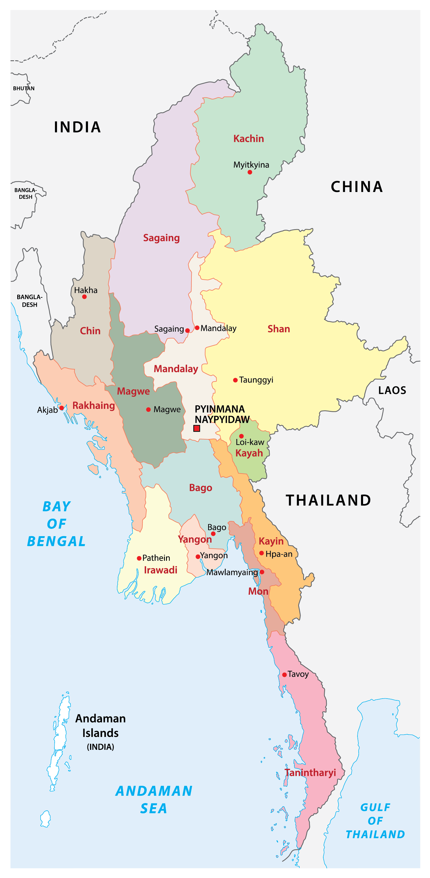 Political Map of Myanmar/Burma into 7 regions, their capitals, and the national capital of Naypyidaw.