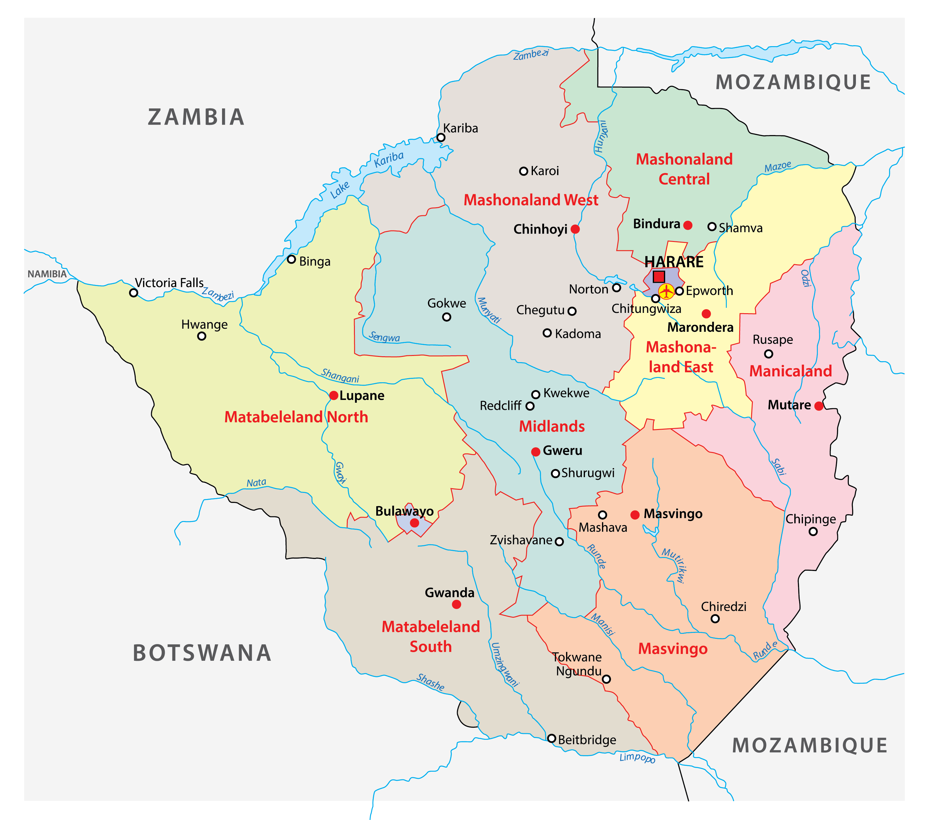 The political map of Zimbabwe displaying its 8 provinces with their capitals and 2 cities with provincial status.