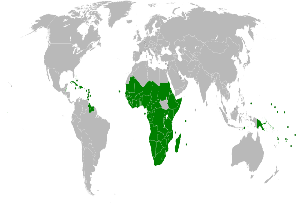 Map of the African, Caribbean and Pacific Group of States (ACP) member states.