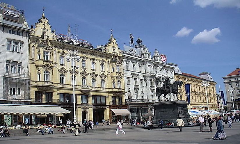 Ban Jelačić Square in Zagreb, the biggest city in Croatia.