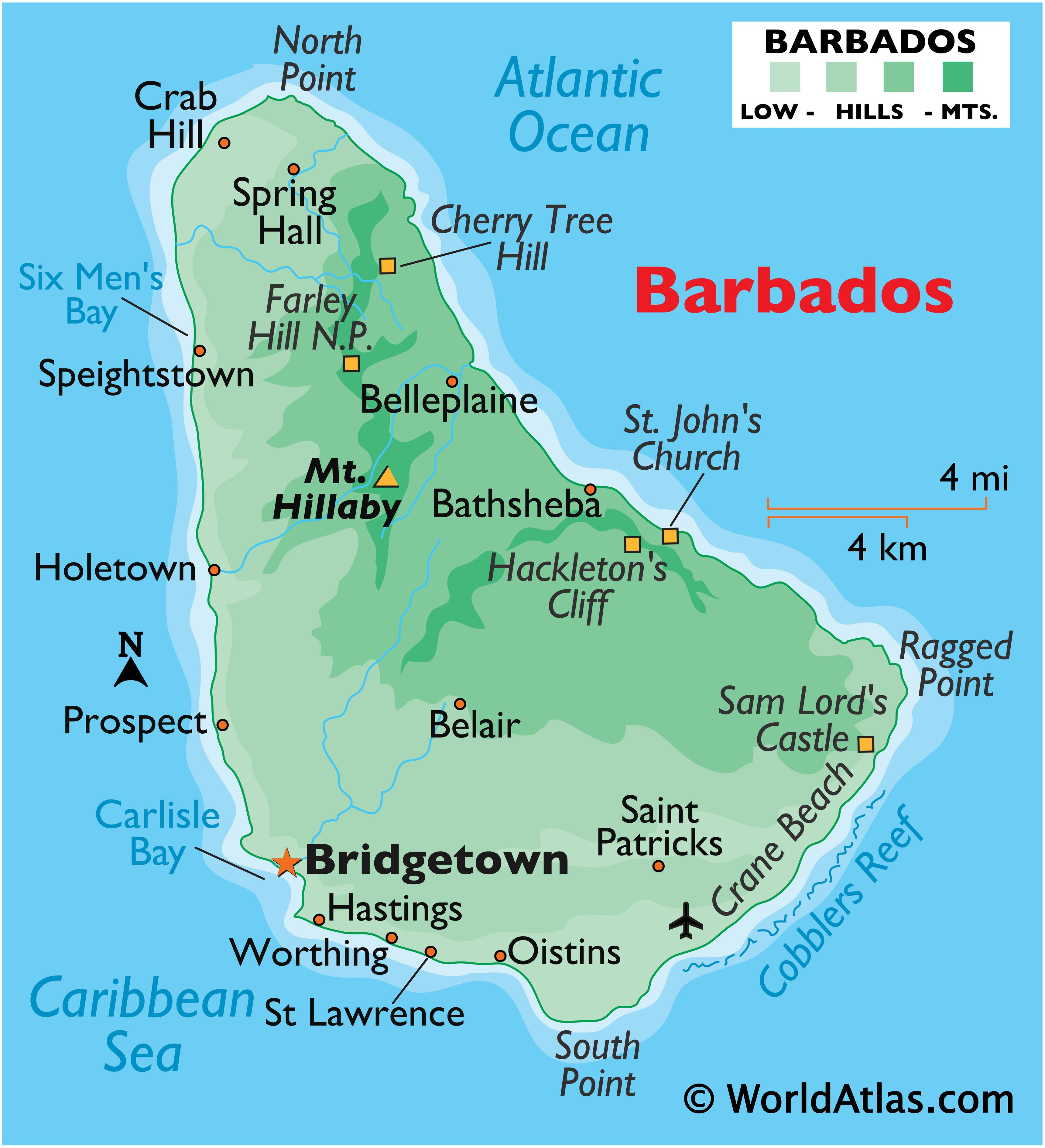 Physical Map of Barbados showing relief, highest point, important settlements, extreme points, and surrounding water features.