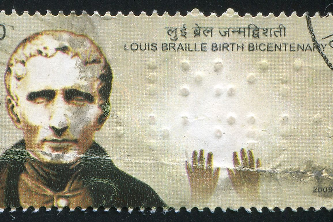 Commemorative stamp of Louis Braille. Editorial credit: rook76 / Shutterstock.com