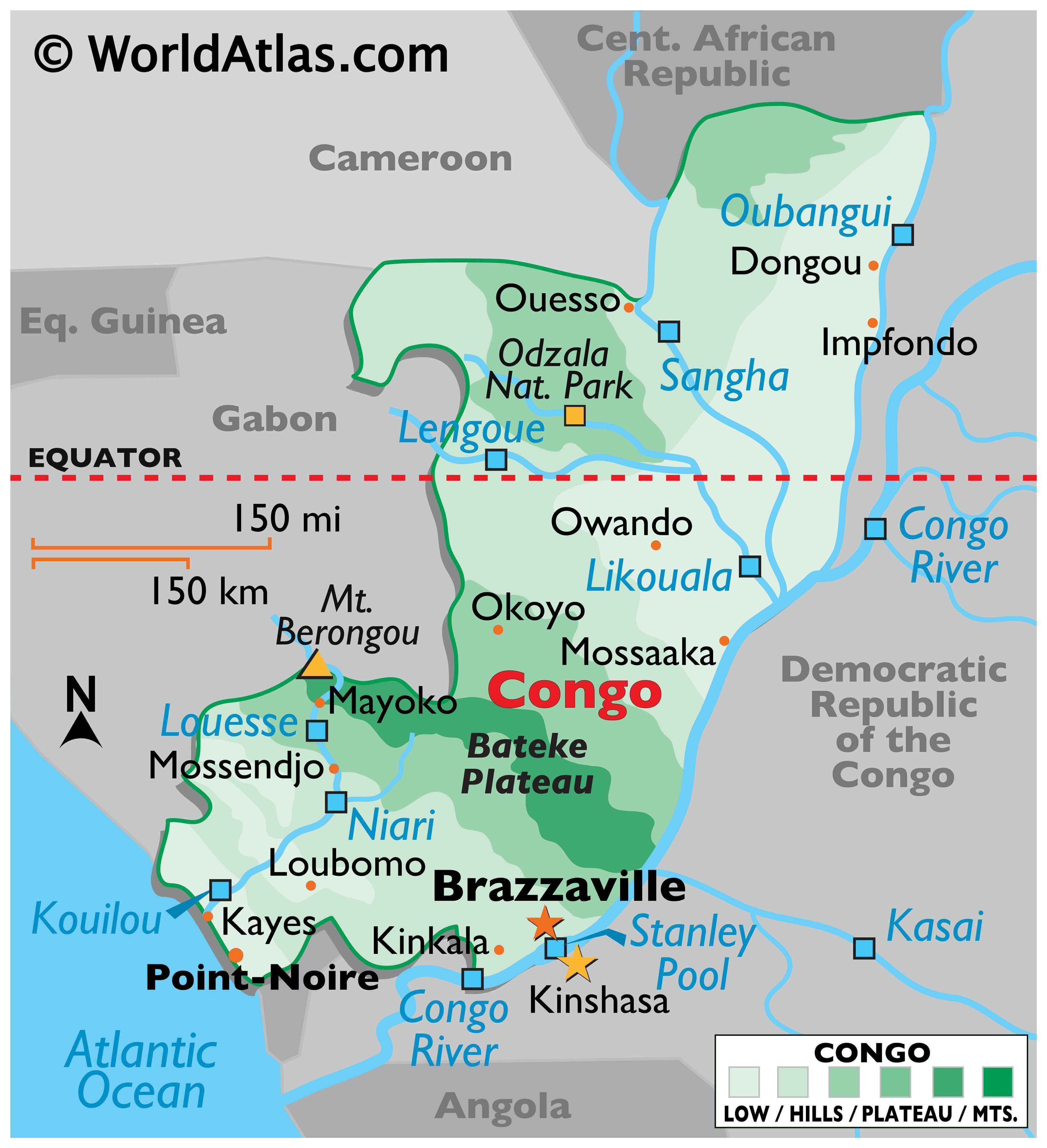 Physical Map of the Republic of the Congo with state boundaries, relief, major physical features like rivers, lakes, mountains, extreme points, etc.