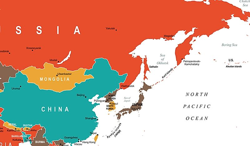 A map showing countries considered to be part of East Asia.