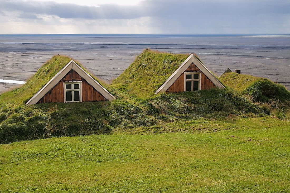Turf houses in Iceland.