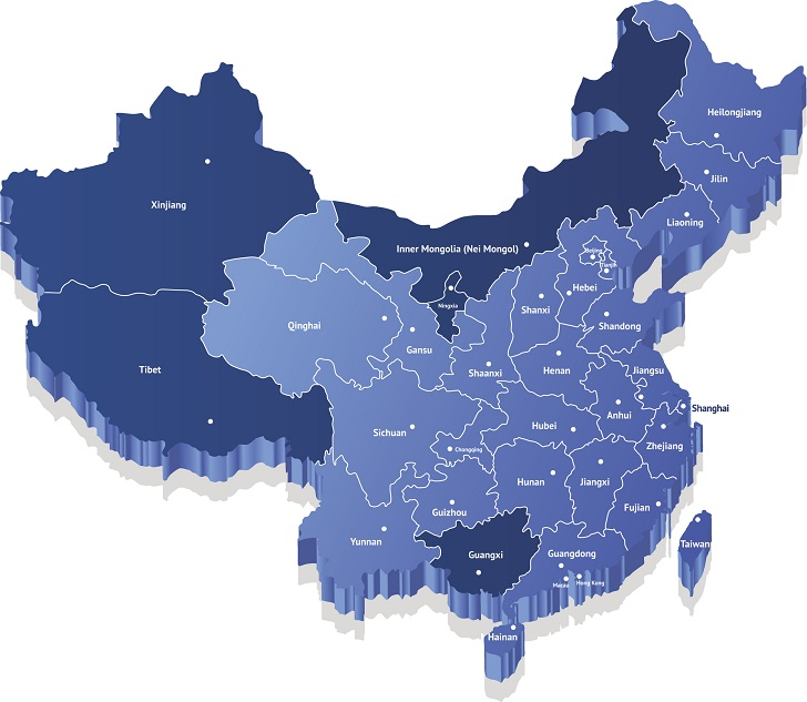 A map of Chinese administrative divisions. Hong Kong and Macao lie along the Guangdong coastline, while the separate Republic of China (Taiwan) is out at sea.