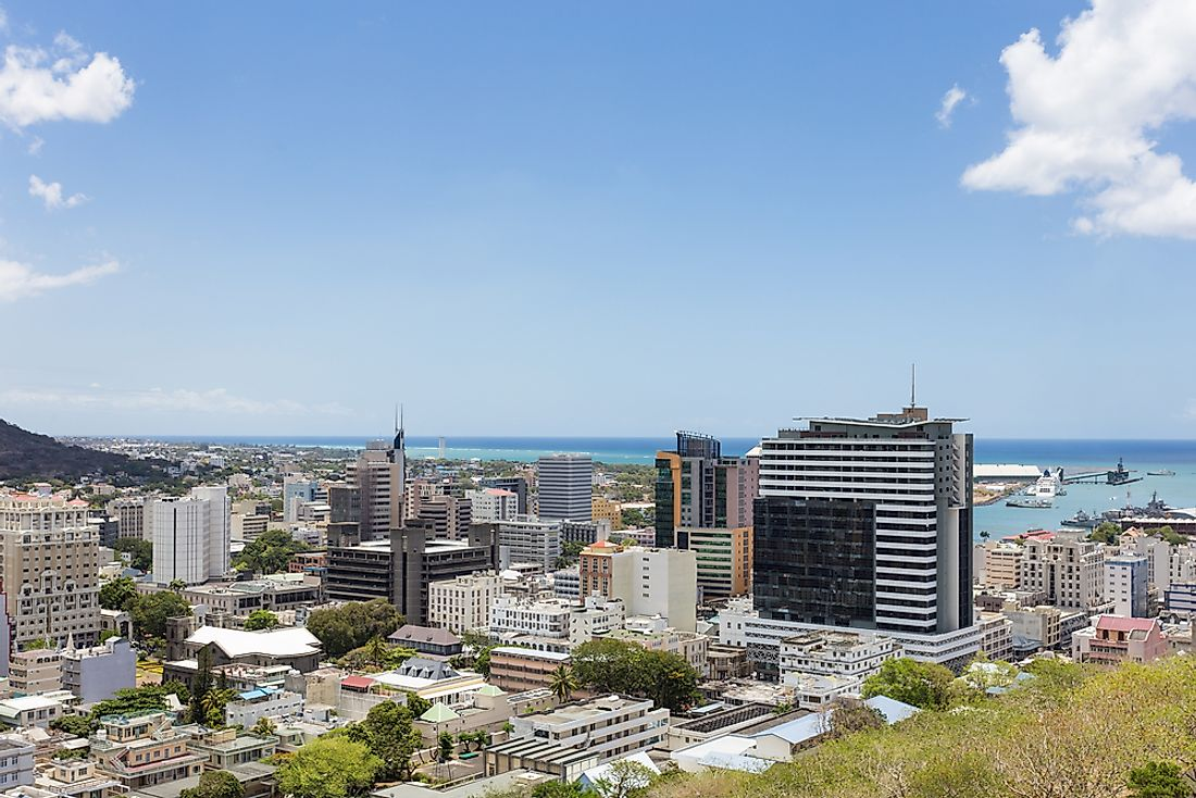 Port Louis, Mauritius. Mauritius has a higher population density than any other country in Africa.