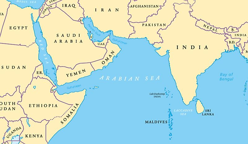 A map showing the location of the Arabian Sea.