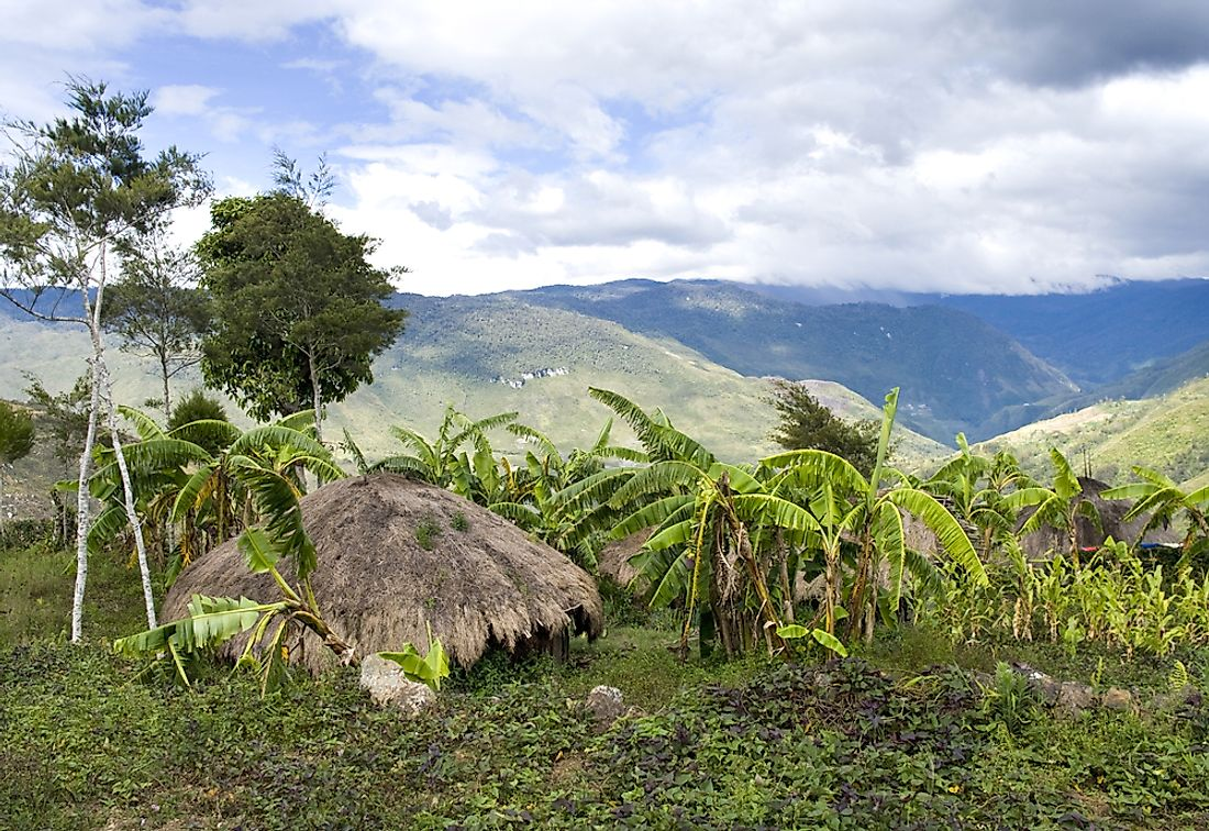 A mountainous landscape of the island of New Guinea in southeast Asia.