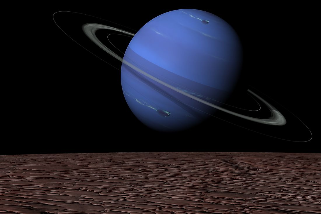 A 3D image of Neptune with its moons.