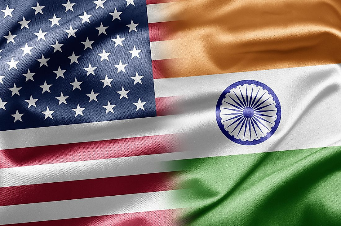 The US flag and the Indian flag.