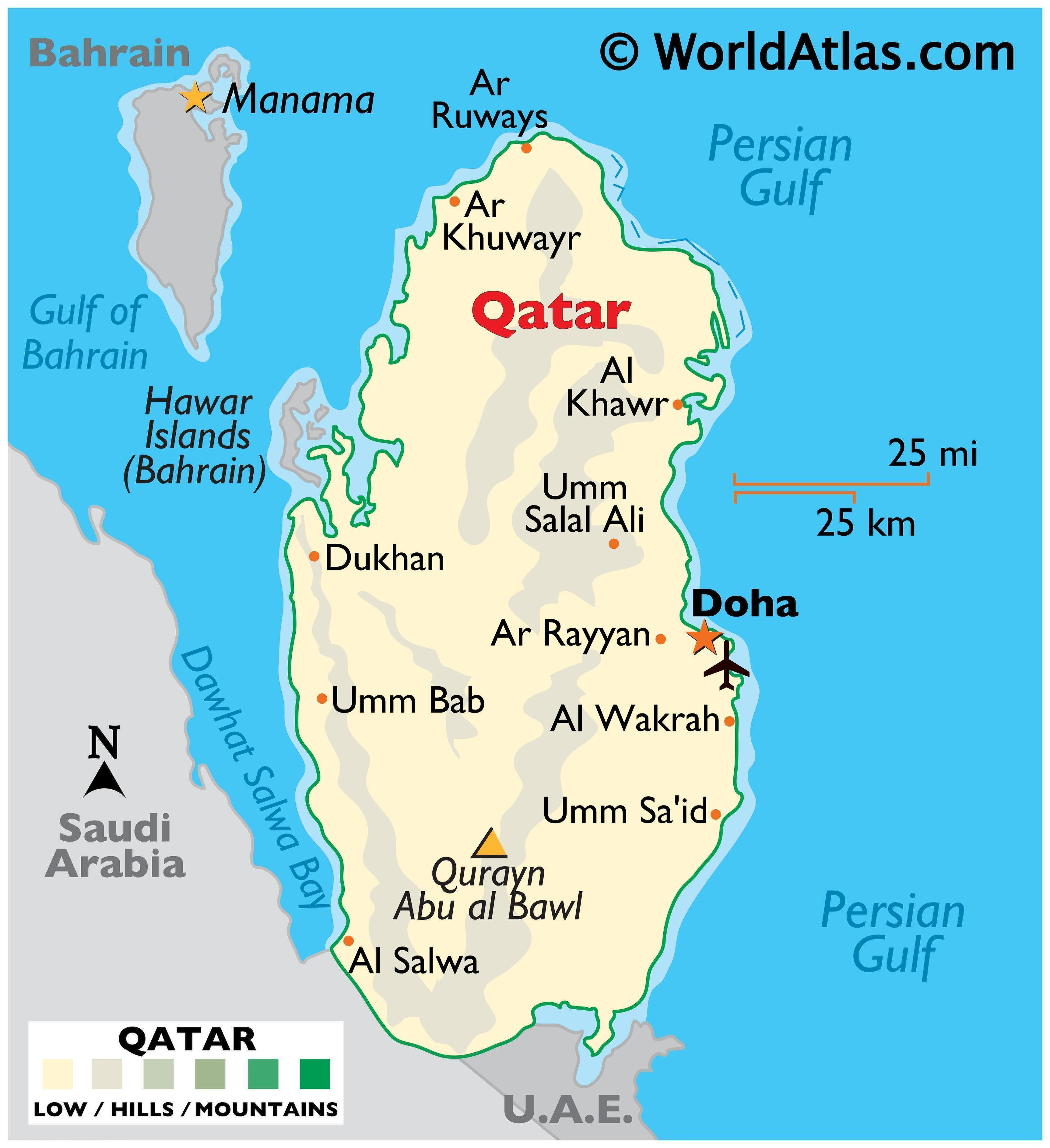 Physical Map of Qatar showing state boundaries, relief, important cities, and the highest point.